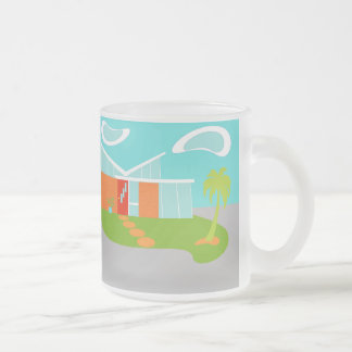 Mid Century Modern Cartoon House Frosted Glass Mug