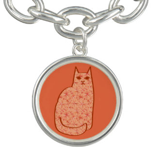 Mid-Century Modern Cat, Coral Orange and White
