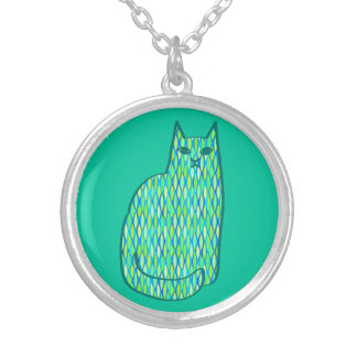 Mid-Century Modern Cat, Mint and Lime Green Silver Plated Necklace