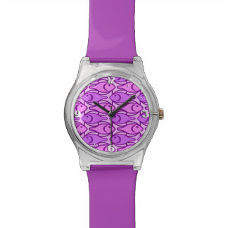 Mid-Century Modern fish, orchid and violet Watch