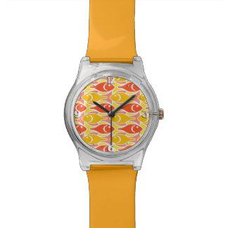 Mid-Century Modern fish, tangerine orange Wristwatches