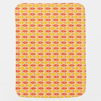 Mid-Century Modern fish, tangerine orange Stroller Blankets