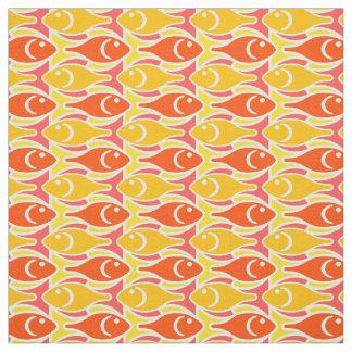 Mid-Century Modern fish, tangerine orange Fabric