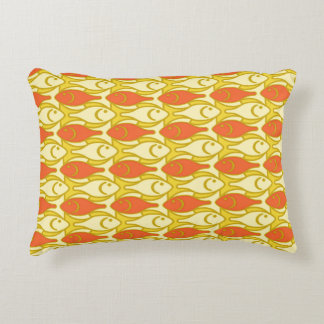 Mid-Century Modern Fish, Yellow and Orange Accent Cushion