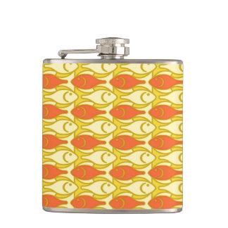 Mid-Century Modern fish, yellow and orange Hip Flask
