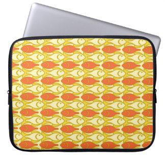 Mid-Century Modern fish, yellow and orange Laptop Sleeve