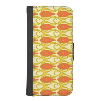 Mid-Century Modern fish, yellow and orange iPhone 5 Wallet Cases