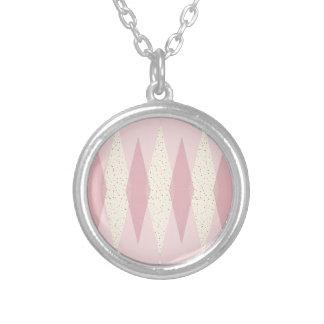 Mid Century Modern Pink Argyle Round Necklace