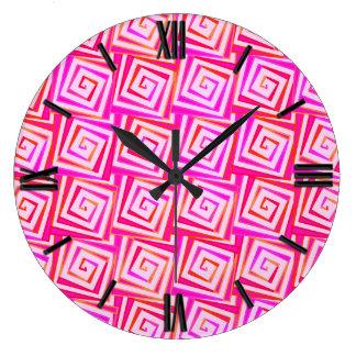 Mid-Century Modern square spirals - pink multi Large Clock
