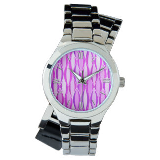 Mid-Century Ribbon Print - orchid and violet Wrist Watch