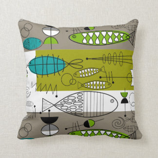Mid-Century Whimsical Fish Art Teal Lime Throw Pillow