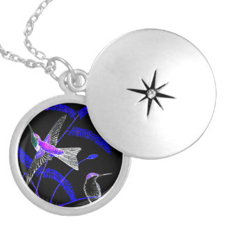 Mid-Night Humming Bird Silver Plated Round Locket