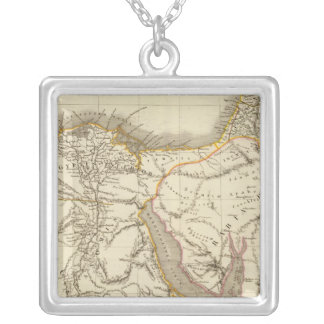 Middle East atlas map Silver Plated Necklace