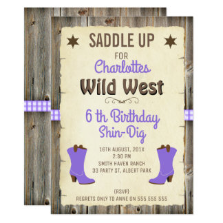 Middle Purple Cowgirl Boots Birthday Invitation