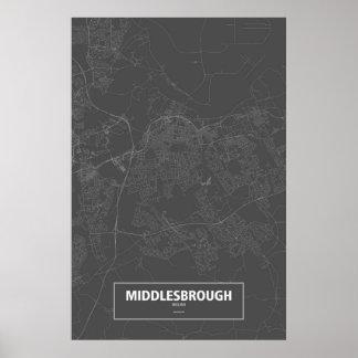 Middlesbrough, England (white on black) Poster