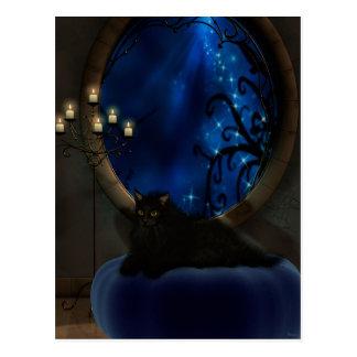 Midnight Blue Fantasy Cat Art Postcard