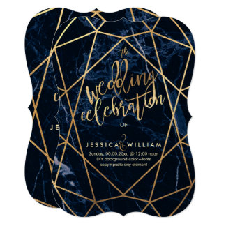 Midnight Blue Marble+Faux Gold Wedding Card