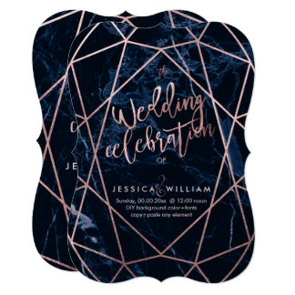 Midnight Blue Marble+Faux Rose Gold Wedding Card