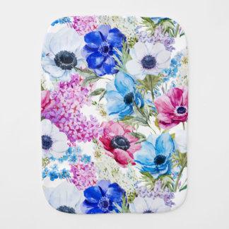 Midnight blue purple watercolor flowers pattern burp cloth