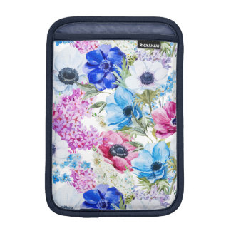 Midnight blue purple watercolor flowers pattern iPad mini sleeve