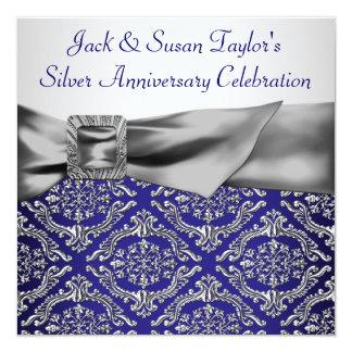 "Midnight Blue Silver Damask 25th Anniversary Party 5.25"" Square Invitation Card"