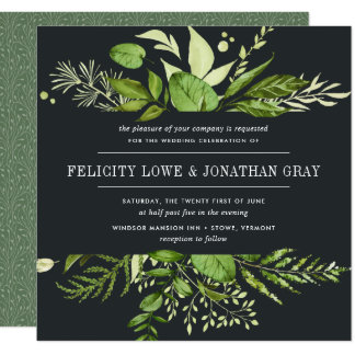 Midnight Garden Wedding Invitation | Square