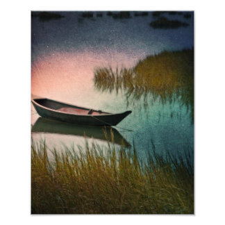 Midnight Paddle In Indigo Teal And Pink Art Photo