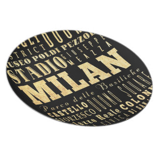 Milan City of Italy Typography Art Plate