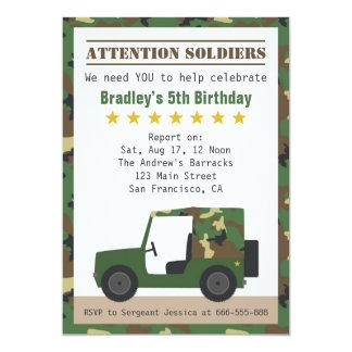 Military Camouflage Pattern Soldier Boy Birthday 13 Cm X 18 Cm Invitation Card