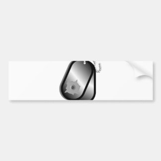 Military Dog Tags Bullet Hole Bumper Sticker