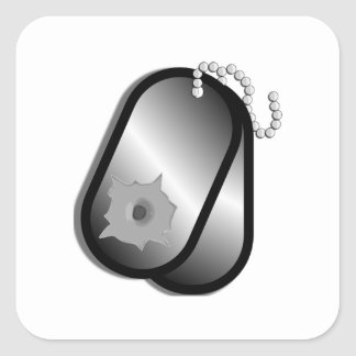 Military Dog Tags Bullet Hole Square Stickers