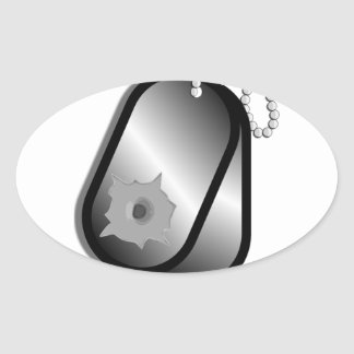 Military Dog Tags Bullet Hole Oval Sticker