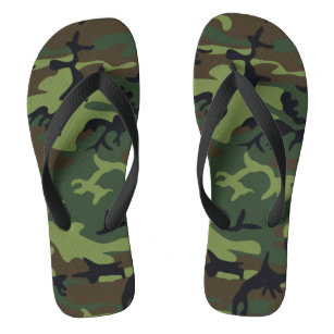 Military Green Camouflage Pattern Adult Flip Flops