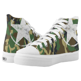 Military Green Camouflage With White Star Printed Shoes