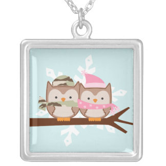 Military Owl Couple Square Pendant Necklace