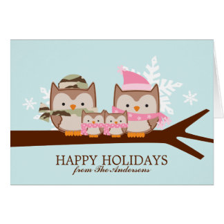 Military Owl Family Christmas Cards