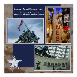 Military Scrapbook Collage Page Poster
