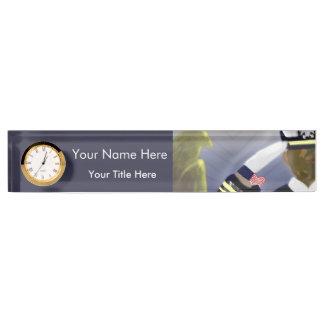 Military Veteran Desk Nameplate with Clock
