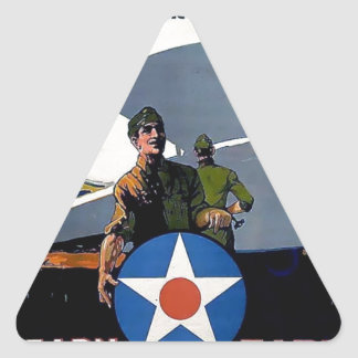 Military WWI poster plane soldier Triangle Sticker