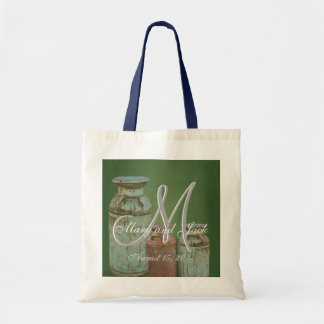 Milk Cans Vintage Metal Rustic Antique Monogram Tote Bag