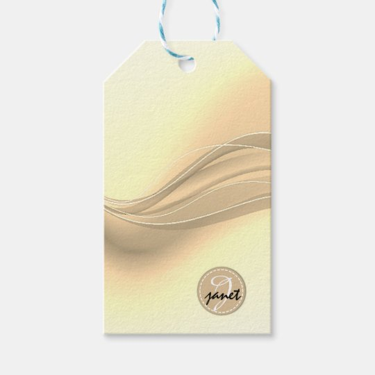 Milky Caramel Modern Waves Monogram Gift Tags