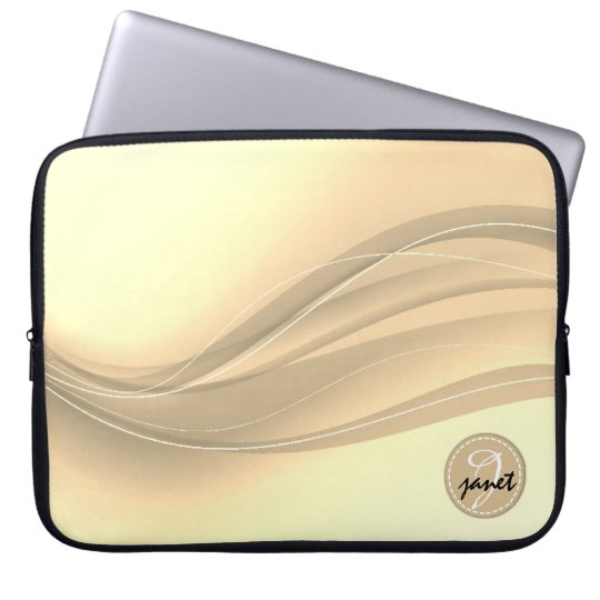 Milky Caramel Modern Waves Monogram Laptop Sleeve