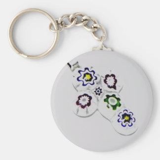 Millefiori glass flower cross basic round button key ring