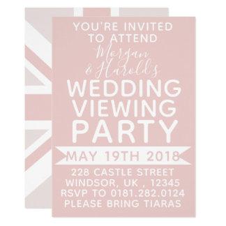 Millennial Pink UK Flag Wedding Party Invitation