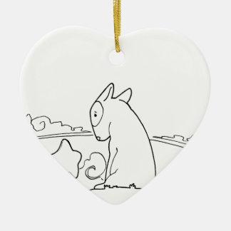 Milo & Ze (Original Bull Terrier Artwork) Ceramic Heart Decoration