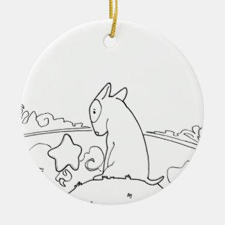 Milo & Ze (Original Bull Terrier Artwork) Round Ceramic Decoration