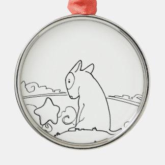 Milo & Ze (Original Bull Terrier Artwork) Silver-Colored Round Decoration
