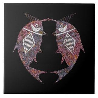Mimbres Pottery Design Twin Fish Tile
