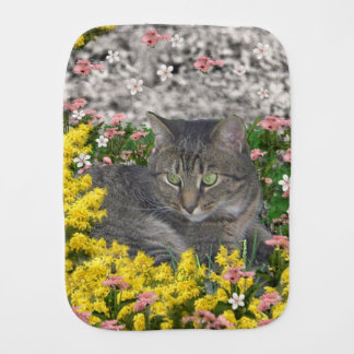 Mimosa the Tiger Cat in Yellow Mimosa Flowers Baby Burp Cloth