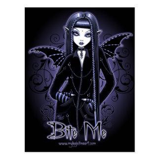 Mina Gothic Blue Bite Me Vampire Fairy Postcard